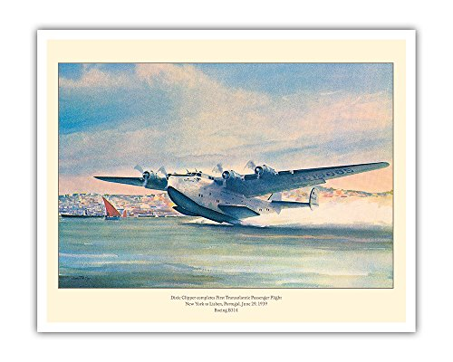 B-314 Dixie Clipper - Pacifica Island Art Dixie Clipper - First Transatlantic Passenger Flight - Pan American Airways - Boeing B-314 - Vintage Airline Travel Poster by John T. McCoy c.1939 - Fine Art Print - 16in x 20in