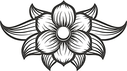 Amazoncom Black And White Elegant Hawaiian Lotus Flower Drawing