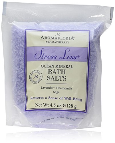 Aromafloria Aromatherapy Collection Stress Less Salt Packette, Eucalyptus/Peppermint/Lemongrass, 4.5 - Salts Lemongrass Bath Lavender