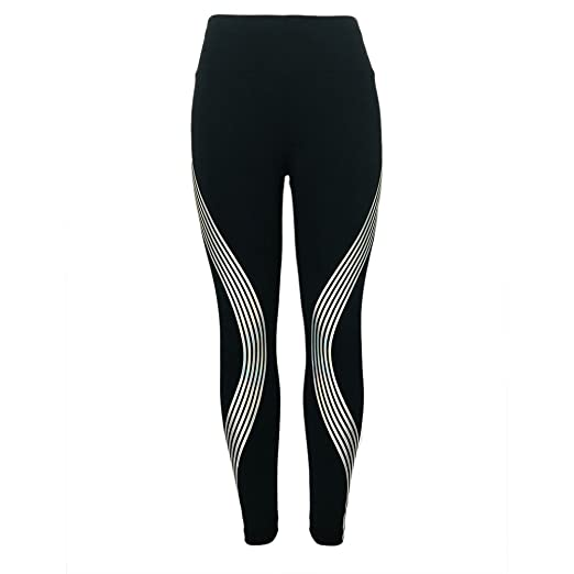 9a287f4143706 eroute66 Women Glowing Sports Yoga Pants Rainbow Reflective Stripes Fashion  Gym Leggings - S Stripe