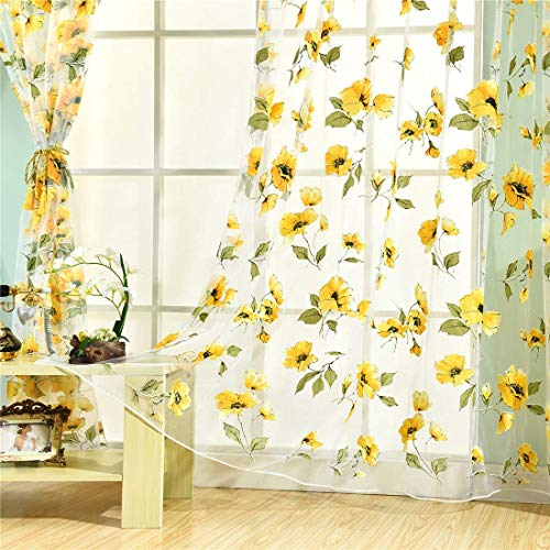 (Haoun 2Pcs Yellow Peony Window Panels Drapes Curtains Sheer Voile Tulle Home Room 39.4x78.8)