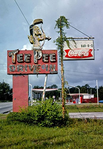 Roadside America Photo Collection | 1979 Tee Pee Drive-in Restaurant Sign, Route 17, Georgetown, South Carolina | Photographer: John Margolies | Historic Photographic Print 16in x 20in