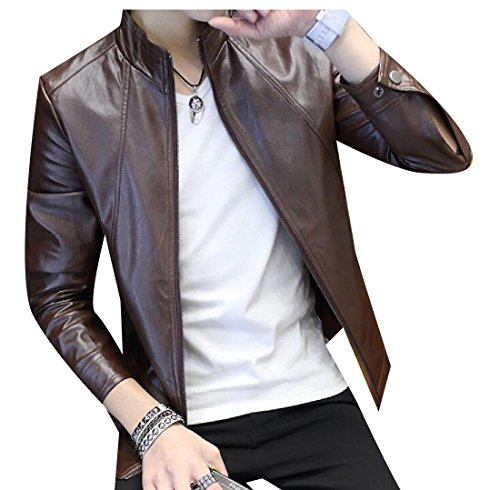 Winwinus Men's Zip Short Mao Collar Leisure Coat Jacket Autumn Bomber Jacket Coffee - Mens Short Bomber