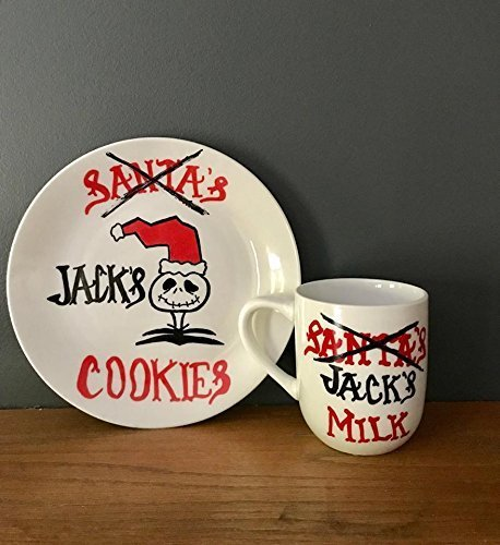 Jack Skellington Nightmare Before Christmas Jacks Santa's Cookies plate Milk mug Christmas décor (Personalized Cookies For Santa Plate)