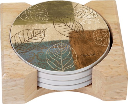 (CounterArt Leaf Collage Design Round Absorbent Coasters in Wooden Holder, Set of 4)