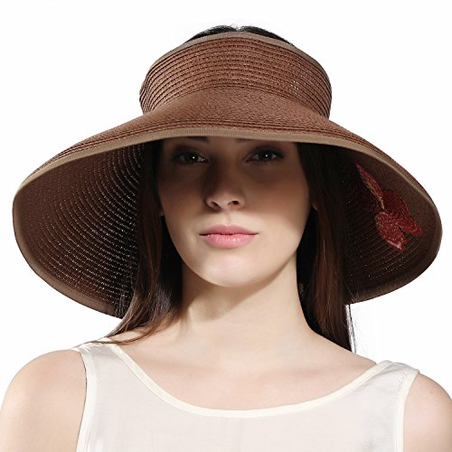 Kainozoic Women's Wide Brim Roll-up Straw Sun Visor Beach Golf Cap (Brown) Gift for Mother's Day, Large]()