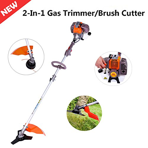 Gas Lawn Trimmer - Korie 43cc 2-Stroke Gas Powered String Trimmer 17-Inch, 2-In-1 Adjustable Straight Shaft Gas Trimmer/Brush Cutter Brushcutter Combo (Orange+Grey)