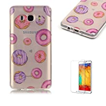 Samsung Galaxy Grand Prime G530 Case [with Free Screen Protector], Funyye Ultra Thin Slim Soft Transparent TPU Rubber Silicone Gel Bumper Colourful Pattern Protective Case Cover Skin for Samsung Galaxy Grand Prime G530 - Pink and Purple Donuts