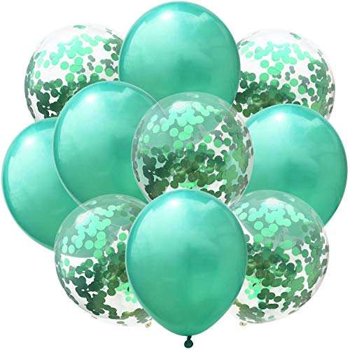 50 Pcs New Year Confetti Balloons Green and Green Sequins 12