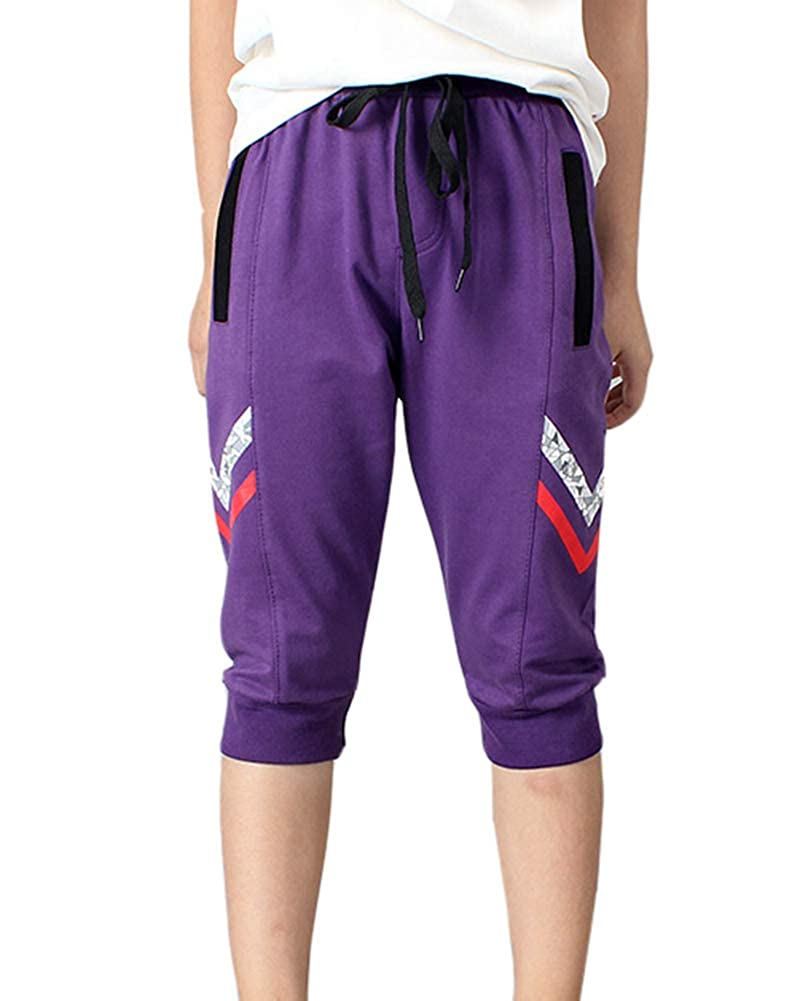 Aden Boy's Jogger Capri Pant Summer Sports Drawstring Pants Shorts