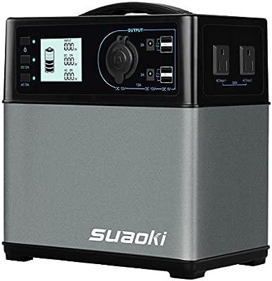 SUAOKI - 400Wh/120,000mAh Generador Portátil Solar, Almacenamiento Suministro de Energía (AC Salida/Coche, 4 USB Puertos, AC y DC inversor, 1 mechero ...