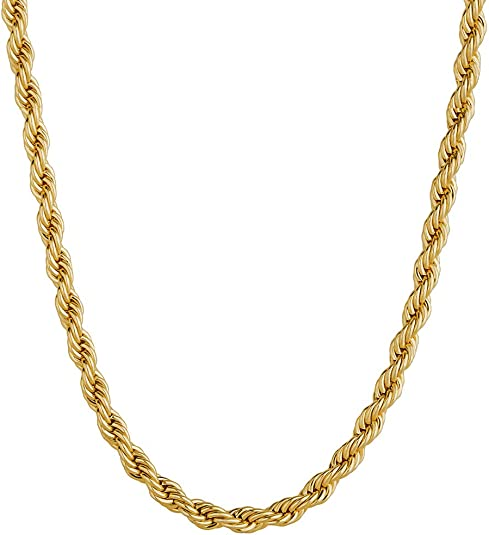 KRKC&CO 3mm Rope Kette 18K GoldWeißgold beschichtet