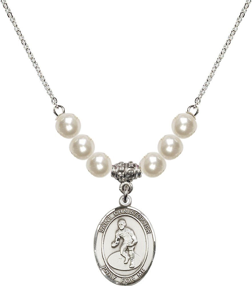 Rhodium Plated Necklace with 6mm Faux-Pearl Beads & Saint Christopher/Wrestling Charm.