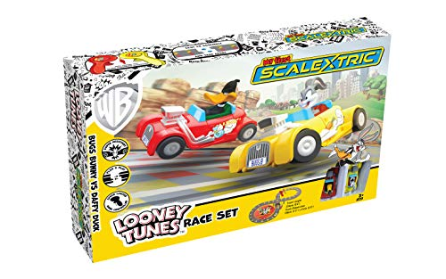 Scalextric My First Looney Tunes Bugs Bunny vs Daffy Duck Battery Powered 1:64 Slot Car Race Track Set G1141T from Scalextric
