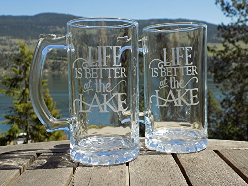 Life is Better at the Lake Beer Mugs, Etched Beer Glasses Set of 2, Beer Gift for men by Sacha & Co.