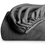 Bare Home Super Soft Fleece Fitted Sheet - Twin Extra Long Size - Extra Plush Polar Fleece, Pill Resistant - Deep Pocket - All Season Cozy Warmth, Breathable & Hypoallergenic (Twin XL, Grey)