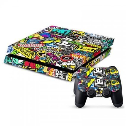 2612 Game Room® : Playstation 4 Console Skin & Remote Controllers Skin - Complications Logo Graphic Design By Asia Trendy Shop