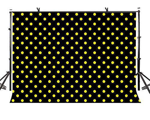 LYLYCTY 7x5ft Tennis Ball Dot Black Backdrop Citrus Polka Dot Photo Booth for YouTube Professional Party Photography Props LYZY0507