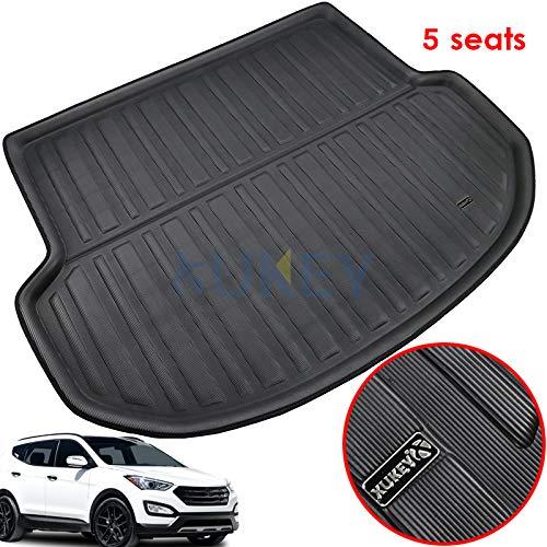 (XUKEY for Hyundai Santa Fe 5 Seat 2013-2018 Cargo Liner Boot Rear Trunk Mat Tray Floor Carpet Luggage Tray Mud Kick Pad Tailored)