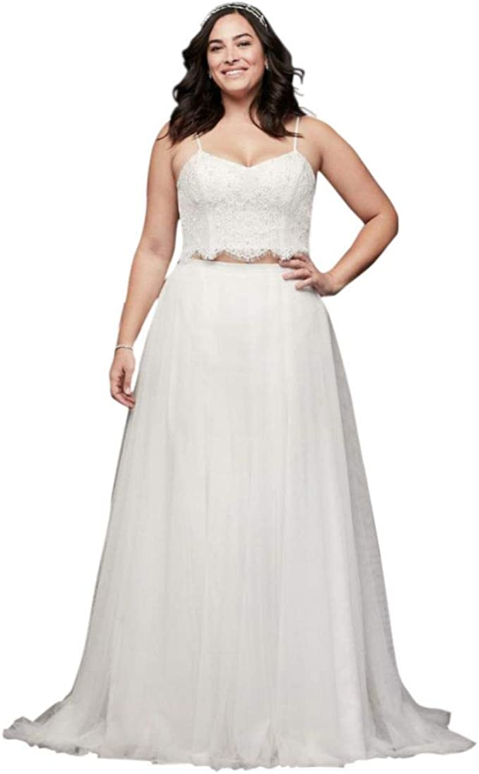 David S Bridal Lace And Tulle Two Piece Plus Size Wedding Dress Style 9wg3952 Soft White 18w At Amazon Women S Clothing Store,Wedding Guest White African Dresses For Church