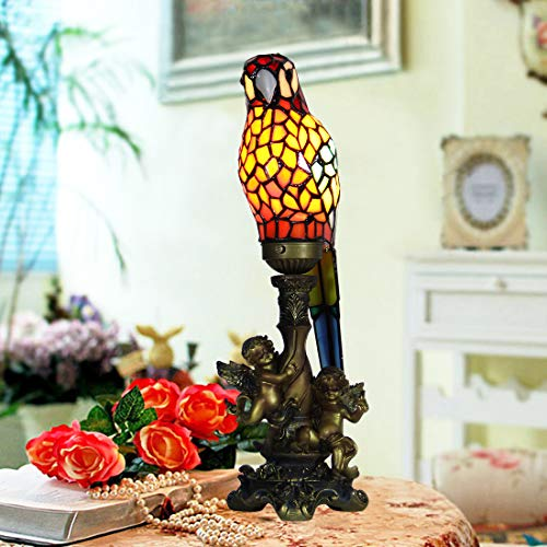 Angels Lamp Tiffany Table (Makenier Vintage Decorative Tiffany Style Stained Glass Red Parrot Angel Base Small Table Lamp Night Lamp)