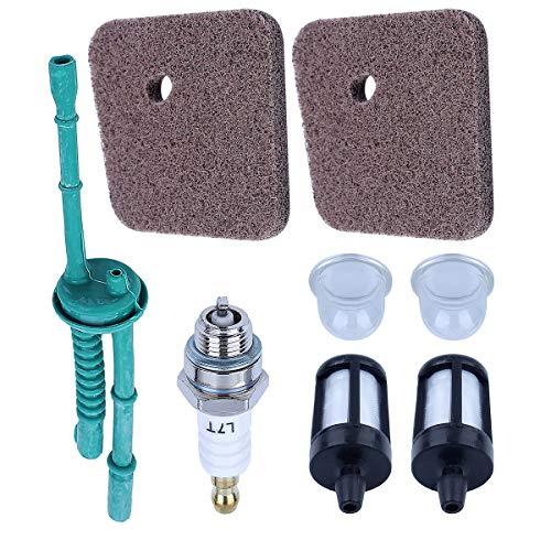 Adefol 4140 124 2800 Air Filter + Fuel Line Filter Primer Bulb for STIHL FS38 FS45 FS46 FS55 KM55 HL45 FS45L FS45C FS46C KM55C KM55R KM55RC String Trimmer Weed Eater