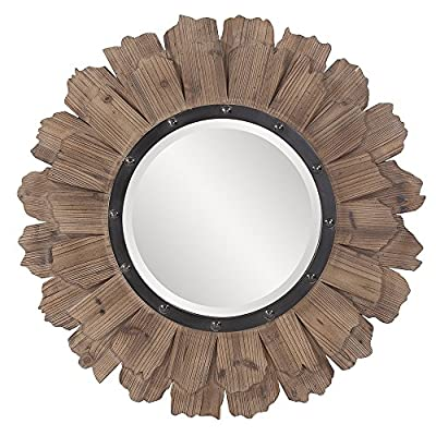 Howard Elliott Hawthorne Hanging Round Wall Mirror, Layered Natural Wood, 35 Inch - BEAUTIFUL FOCAL POINT - Round layered natural wood framed hanging wall mirror is the perfect focal point for any entryway, bathroom, bedroom or any room in your home NATURAL WOOD FRAME - The round frame is composed of 2 rows of wood pieces arranged like flower petals around the mirrored glass BEAUTIFULLY BEVELED - For added detail and interest, the mirror's edge is beautifully beveled - bathroom-mirrors, bathroom-accessories, bathroom - 51hprUO16QL. SS400  -