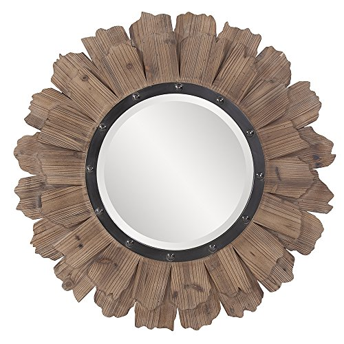 Howard Elliott Hawthorne Round Mirror, 35-Inch, Layered Natural Wood - Oval Collection Beach Mirror