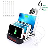 #3: CXCase 6-Port USB Charging Station Dock Stand & Organizer, Multi Port Charger Station, Universal Cell Phone Docking Station for iPhones, Samsung Galaxy, iPad, Tablets, Apple Watch, Smartphones