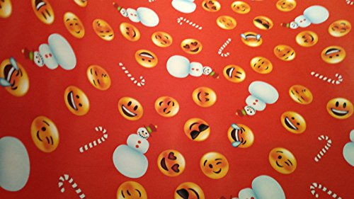 Christmas Wrapping Emoji Emojies Laughter Wink Hearts Holiday Paper Gift Greetings 1 Roll Design 40 Feet Festive Wrap Max Red Red (Max The Grinch Costume)
