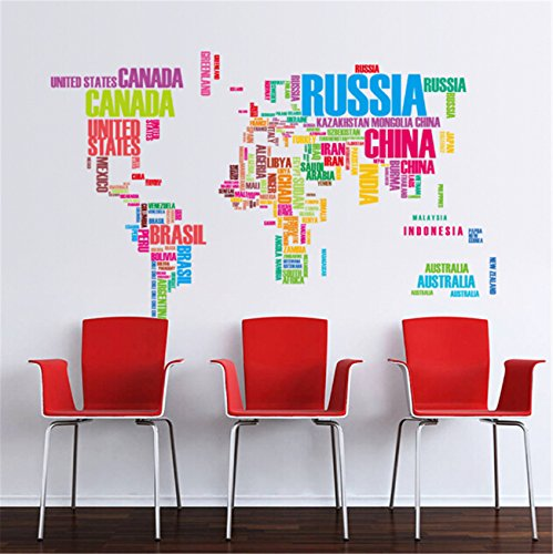 Takefuns English Words World Map Wall Sticker Country Name Wall Sticker Decal in Words-large Text World Map Stickers for Wall Home or Office Decor