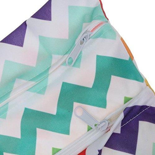 Veroda resistente al agua mojado seco bolsa de organizador de bebé bolsa de pañales reutilizables con doble cremallera arco iris