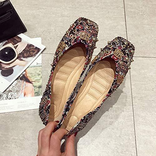 MY NAME IS PHARAOH Chaussures Plates pour Femmes Chaussures de Ballet /à Bout Pointu avec Boucle Confortable