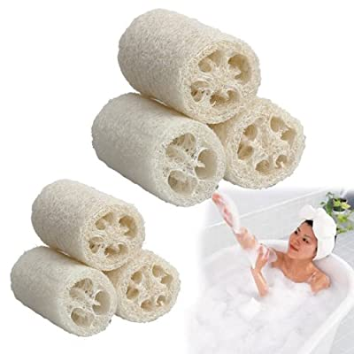 Vktech 3 Pcs Natural Loofah Luffa Loofa Bath Body Shower Sponge Scrubber