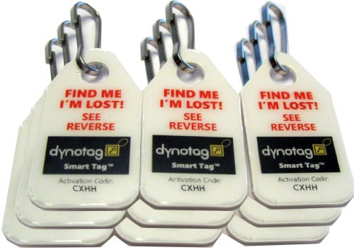 Dynotag Web Enabled Smart Micro Zipper Tags with DynoIQ & Lifetime Recovery Service. 9 (3x3strip)+SnapHooks