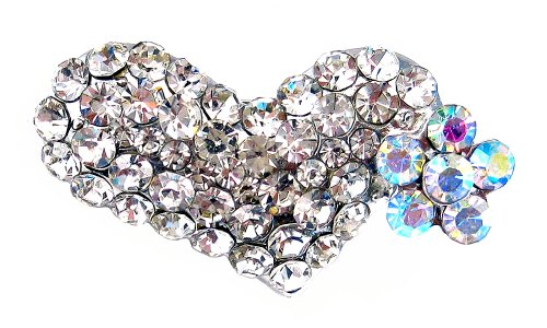 Crystal Heart and Flower Alligator Clip - Iridescent