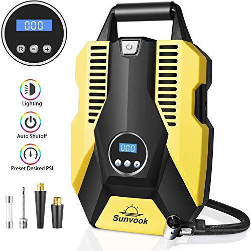 Portable Air Compressor Pump Digital Tire Inflator 150PSI DC 12V Car Air Pump with LED Light Auto tire inflator for Car, Bicycle, Motorcycle, Basketball and Other Inflatables(Yellow) (Air Tire Pump Auto)