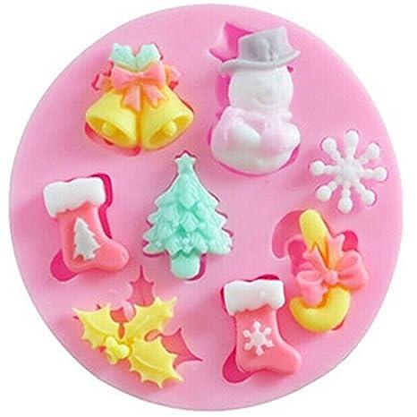 Hosaire 8 Cavidad 3D Tema de Navidad Molde de Papá Noel Campanas Calcetines Árbol en forma ...
