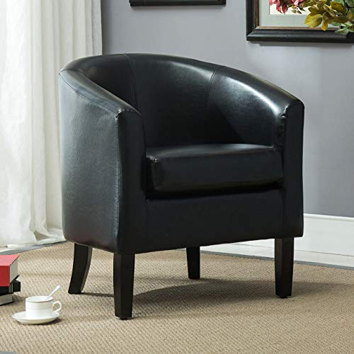 Top Stitching for Durability, Solid Wood Legs Club Chair Tub Faux Leather Contemporary Modern Armchair Seat Accent Living, ()