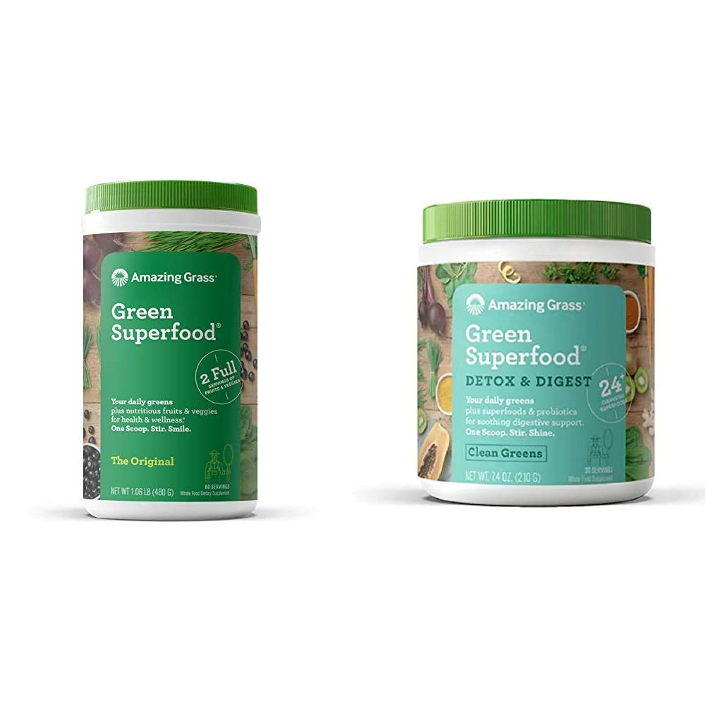 Amazing Grass Green Superfood: Super Greens Powder with Spirulina, 60 Servings & Green Superfood Detox & Digest: Cleanse with Super Greens Powder, Digestive Enzymes & Probiotics, 30 Servings