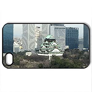 osaka, japan - Case Cover for iPhone 4 and 4s (Skyscrapers Series, Watercolor style, Black)