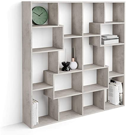 Mobili Fiver, Estantería S Iacopo (160,8 X 158,2 cm), librería Color Cemento, Aglomerado y Melamina, Made in Italy
