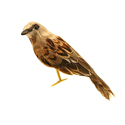 2 New Artificial Bird Realistic Sparrow Taxidermy Figurine Garden Home Decor