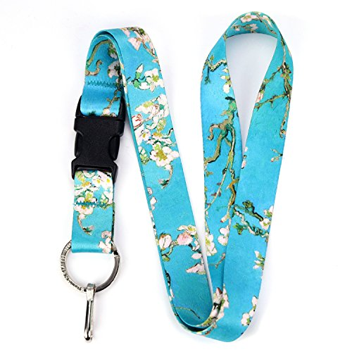 Buttonsmith Vincent Van Gogh Almond Blossoms Premium Lanyard with Buckle and Flat Ring - Made in The USA
