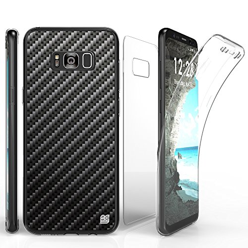 TriMax Case for Galaxy S8 Plus, Ultra Slim Transparent Clear Hybrid Shock Absorbing Scratch Resistance with Full Body Protection Built in Screen Protector Flexible Gel Cover Carbon Fiber Black
