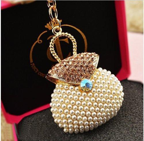 White Pearl Bag Keychain Jewelry Fashion Crystal Metal Key Ring Gift Purse Charm Handbag Pendant Lady Gifts