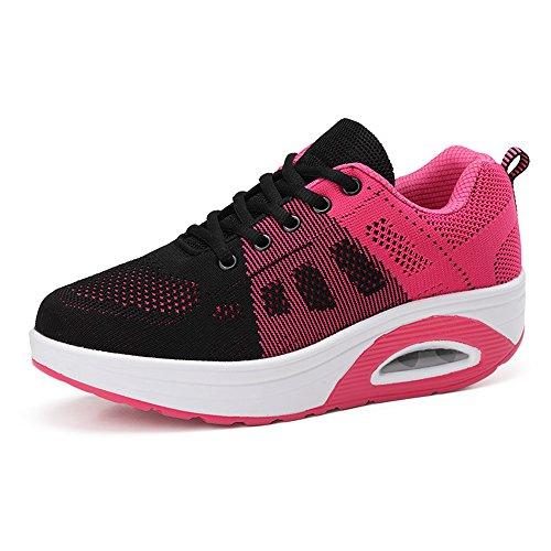 Hasag Zapatos voladores de Mujer nuevos Zapatos de Suela Gruesa Zapatos Deportivos Respirables Black red