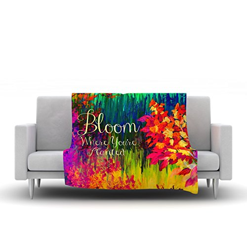 80 by 60 Kess InHouse EBI Emporium Bloom Where Youre Planted Floral Fleece Throw Blanket