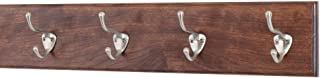 """product image for PegandRail Cherry Coat Rack with Satin Nickle Hat and Coat Style Hooks 4.5"""" Ultra Wide (Mahogany, 20"""" x 4.5"""" with 4 Hooks)"""