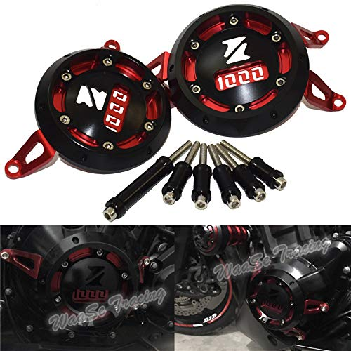 waase Motorcycle Left & Right Side Engine Case Stator Clutch Cover Guard Protection Crash Pad Frame Sliders Protector For Kawasaki Z1000 Z100SX Ninja1000 2010 2011 2012 2013 2014 2015 2016 (Red)